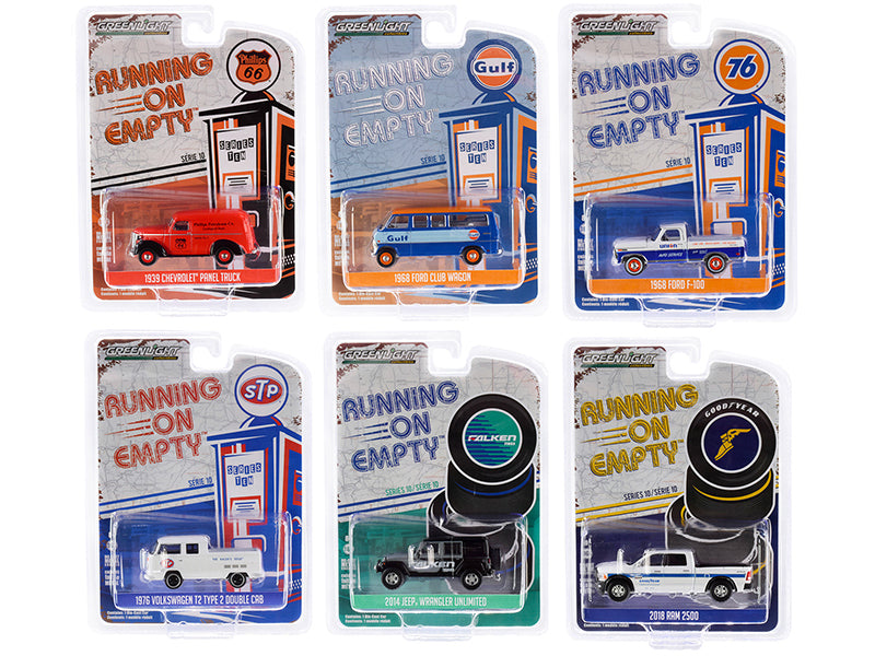 """Running on Empty"" Series 10 Models 6 piece Set 1:64 Diecast Cars - Greenlight - 41100"