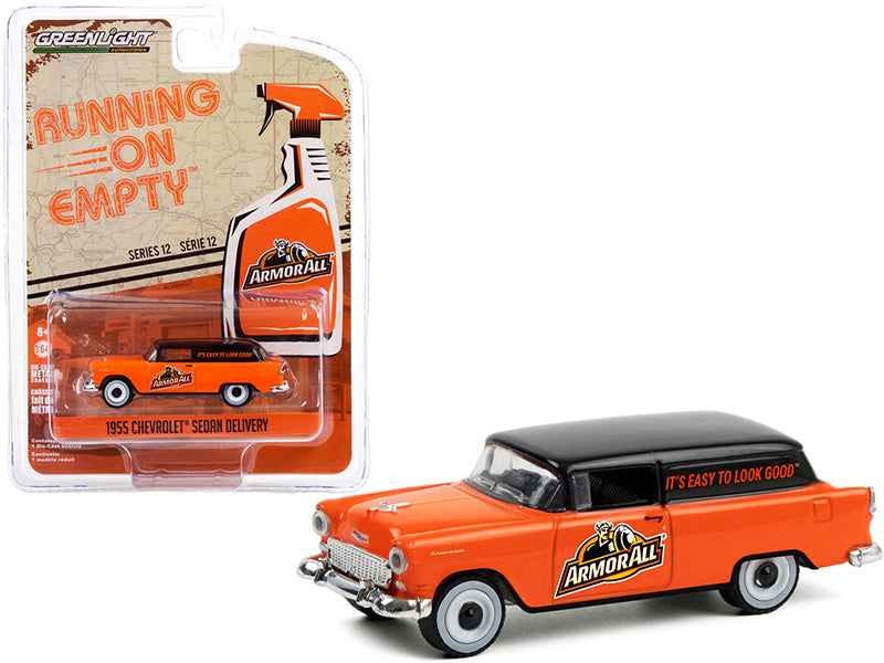 "1955 Chevrolet Sedan Delivery ""Armor All"" Orange with Black Top ""Running on Empty"" Series 12 Diecast 1:64 Model Car - Greenlight - 41120A"