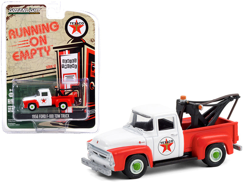 "1956 Ford F-100 Tow Truck ""Texaco Filling Station"" Red and White ""Running on Empty"" Series 12 Diecast 1:64 Model - Greenlight - 41120B"