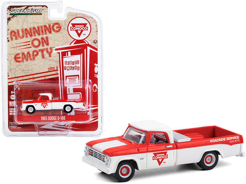 "1965 Dodge D-100 Pickup Truck ""Conoco Roadside Service"" White and Red ""Running on Empty"" Series 12 Diecast 1:64 Model Car - Greenlight - 41120C"