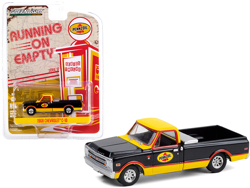 "1968 Chevrolet C-10 Pickup Truck with Toolbox ""Pennzoil"" Black and Yellow ""Running on Empty"" Series 12 Diecast 1:64 Model Car - Greenlight - 41120D"