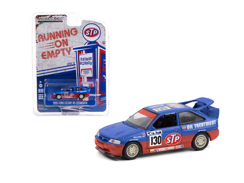 "1995 Ford Escort RS Cosworth ""STP"" Blue & Red ""Running on Empty"" Series 12 Diecast 1:64 Model Car - Greenlight - 41120E"