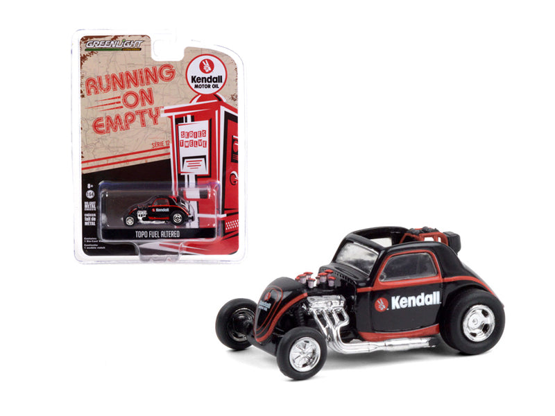 "Topo Fuel Altered ""Kendall Motor Oil"" Black with Red Stripes ""Running on Empty"" Series 12 Diecast 1:64 Model Car - Greenlight - 41120F"