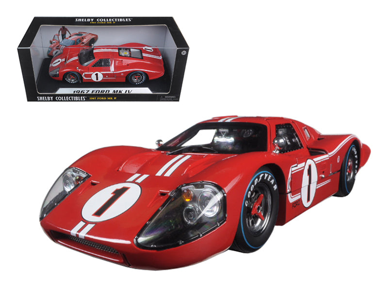 "1967 Ford GT-40 MK IV #1 Lemans Red ""Legend Series"" 1:18 Diecast Model Car - Shelby Collectibles - 423RD"