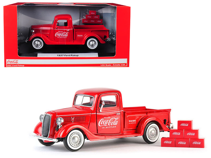 "1937 Ford Pickup Truck ""Coca-Cola"" Red w/ 6 Bottle Carton Accessories 1/24 Diecast Model Car - Motorcity Classics - 424065"