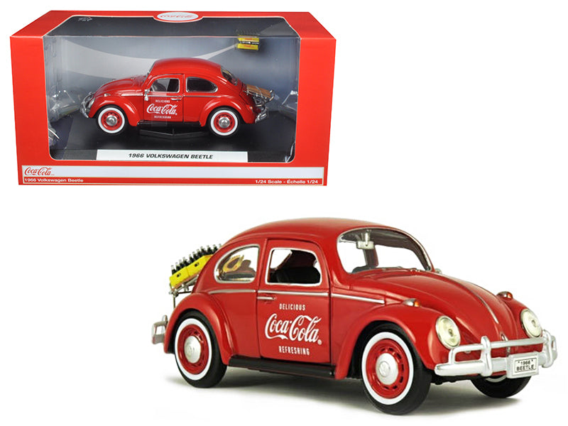 "1966 Volkswagen Beetle ""Coca Cola"" w/ Rear Decklid Rack & 2 Bottle Cases 1/24 Diecast Model Car - Motorcity Classics - 424067"