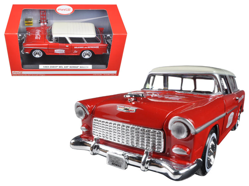 1955 Chevrolet Nomad Coca Cola w/ 2 bottle cases & metal handcart 1/24 Diecast Model Car - Motorcity Classics - 424110