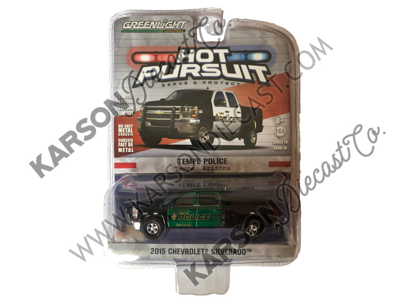 2015 Chevrolet Silverado Hot Pursuit Series 19 Tempe AZ Police 1:64 Scale Diecast - Greenlight - 42760E - CHASE GREEN MACHINE