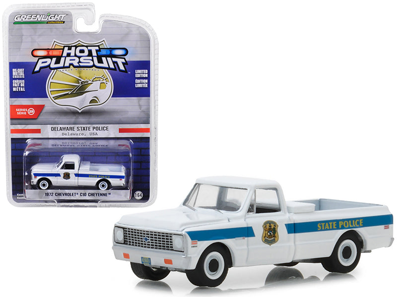 "1972 Chevrolet C10 Cheyenne Pickup Truck Delaware State Police ""Hot Pursuit"" Series 29 1:64 Diecast Model Car - Greenlight - 42860A"