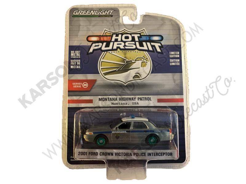 2001 Ford Crown Victoria Police 1:64 Diecast Model Hot Pursuit Series 29 - Greenlight - 42860D - CHASE GREEN MACHINE