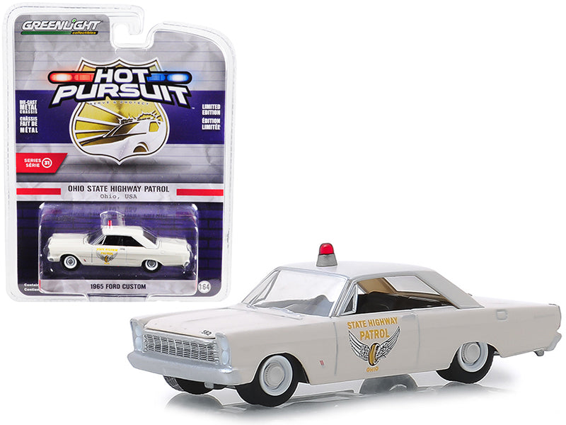 "1965 Ford Custom ""Ohio State Highway Patrol"" Cream ""Hot Pursuit"" Series 31 1:64 Diecast Model Car - Greenlight - 42880A"