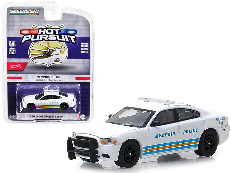 "2011 Dodge Charger Pursuit ""Memphis, Tennessee Police"" White w/ Stripes ""Hot Pursuit"" Series 31 1:64 Diecast Model Car - Greenlight - 42880E"