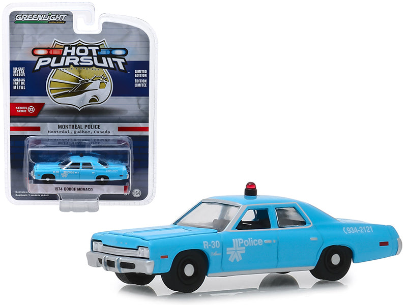 "1974 Dodge Monaco ""Montreal, Canada Police"" Light Blue ""Hot Pursuit"" Series 32 1:64 Diecast Model Car - Greenlight - 42890A"