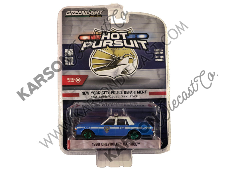 "1990 Chevrolet Caprice ""New York City Police Dept"" (NYPD) Light Blue w/ White Top ""Hot Pursuit"" Series 32 1:64 Diecast Model Car - Greenlight - 42890 - CHASE GREEN MACHINE"