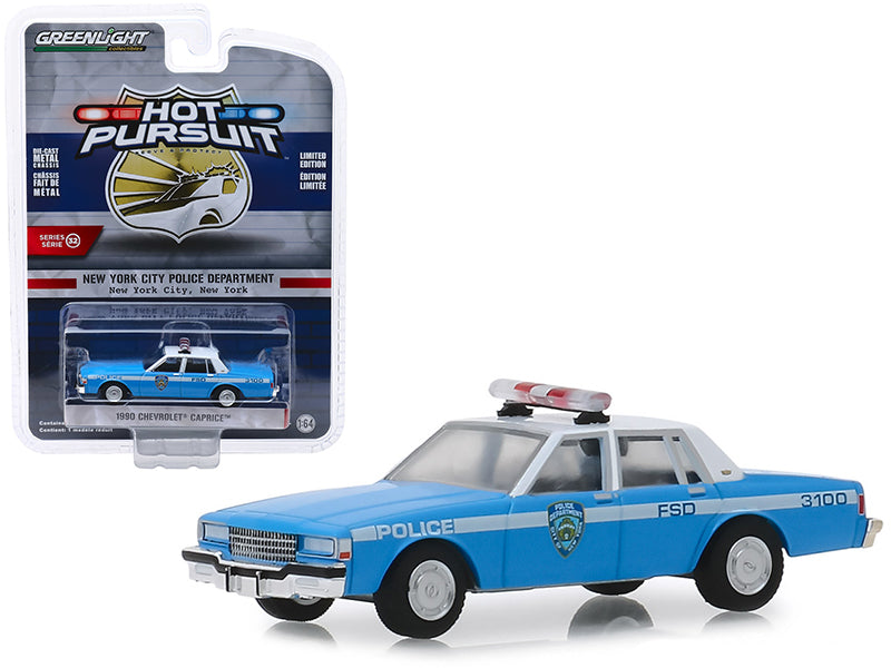 "1990 Chevrolet Caprice ""New York City Police Dept"" (NYPD) Light Blue w/ White Top ""Hot Pursuit"" Series 32 1:64 Diecast Model Car - Greenlight - 42890"