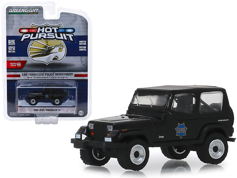 "1994 Jeep Wrangler YJ ""San Francisco Police Department"" (SFPD) Black ""Hot Pursuit"" Series 32 1:64 Diecast Model Car - Greenlight - 42890"