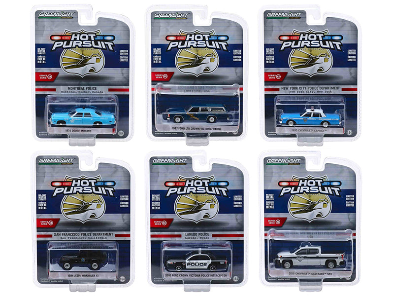 """Hot Pursuit"" Series 32, Set of 6 Police Cars 1:64 Diecast Model Cars - Greenlight - 42890"