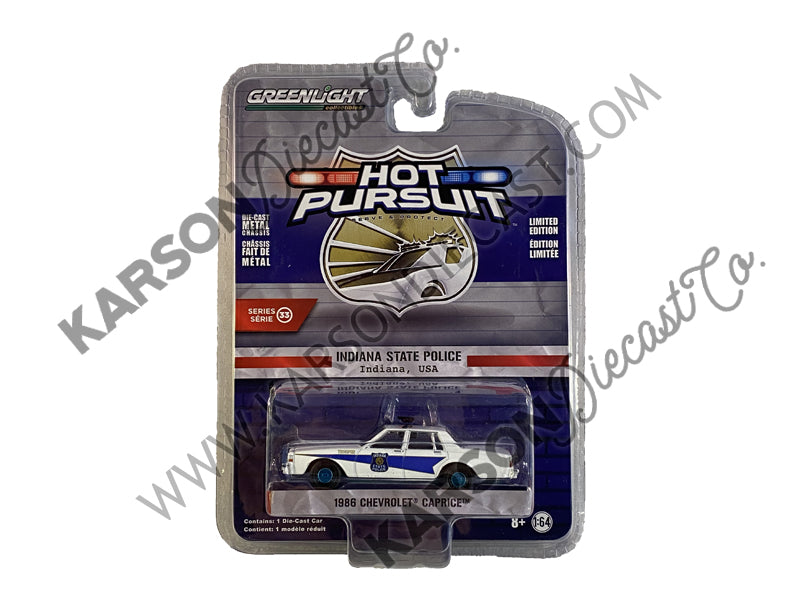 "CHASE 1986 Chevrolet Caprice ""Indiana State Police"" (Indiana, USA) White ""Hot Pursuit"" Series 33 Model 1:64 Diecast - Greenlight - 42900B"