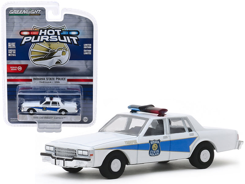 "1986 Chevrolet Caprice ""Indiana State Police"" (Indiana, USA) White ""Hot Pursuit"" Series 33 Model 1:64 Diecast - Greenlight - 42900B"