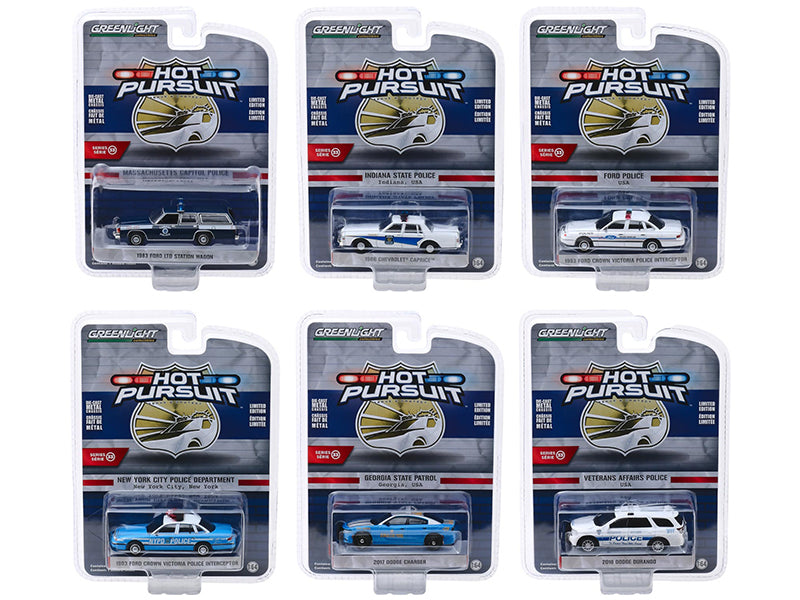 """Hot Pursuit"" Series 33 Models Set of 6 Police Cars 1:64 Diecast - Greenlight - 42900SET"