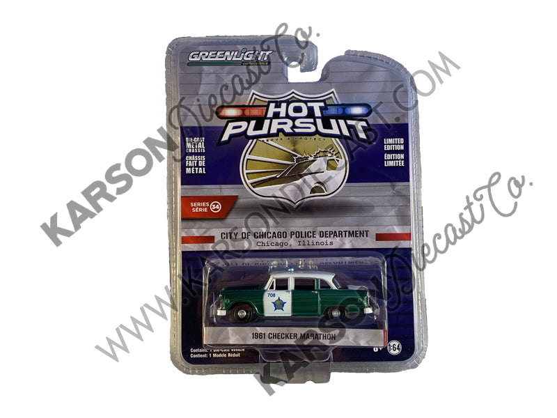 "CHASE 1961 Checker Marathon Blue and White ""City of Chicago Police Department"" (Chicago, Illinois) ""Hot Pursuit"" Series 34 Model 1:64 Diecast - Greenlight - 42910B"