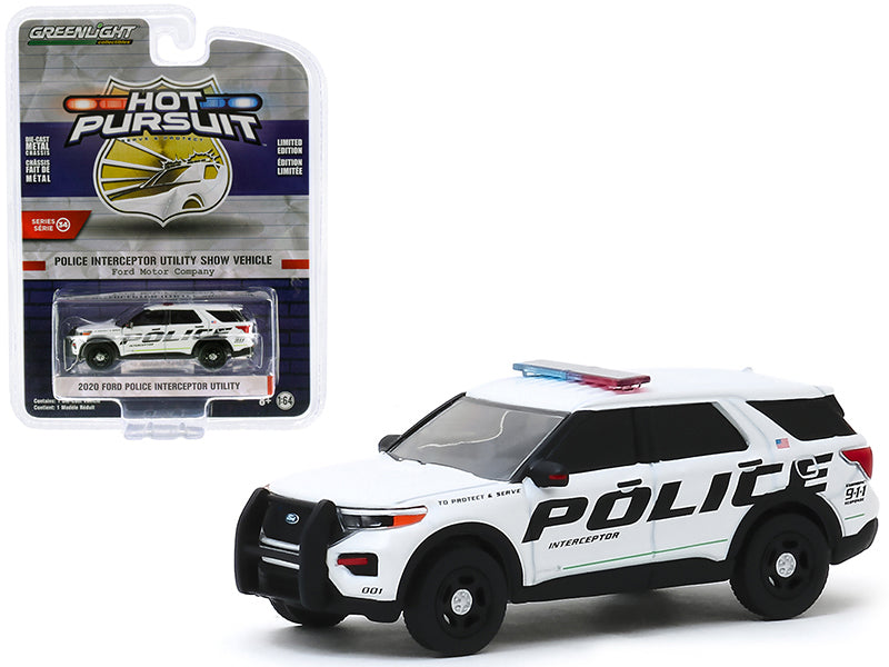 "2020 Ford Explorer Police Interceptor Utility Show Vehicle White ""Ford Motor Company"" ""Hot Pursuit"" Series 34 Model 1:64 Diecast - Greenlight - 42910F"