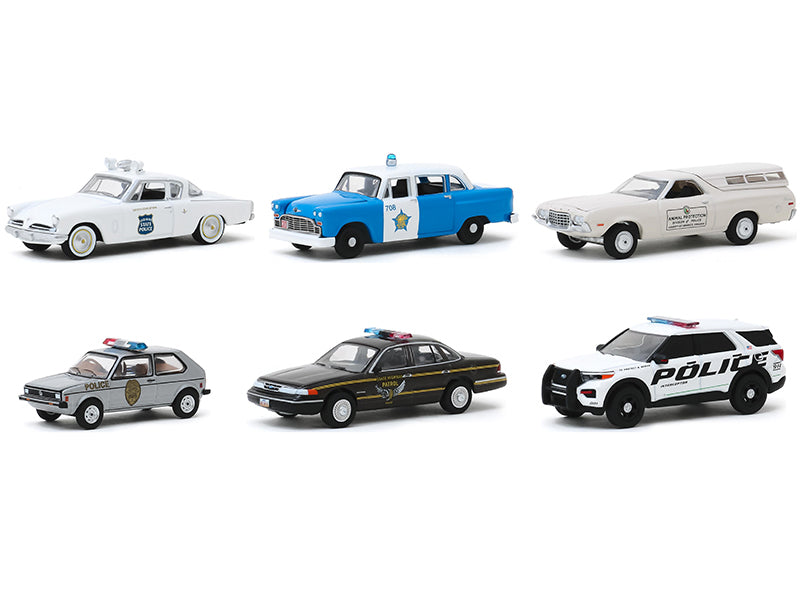 """Hot Pursuit"" Series 34, Set of 6 Models Police Cars 1:64 Diecast - Greenlight - 42910SET"