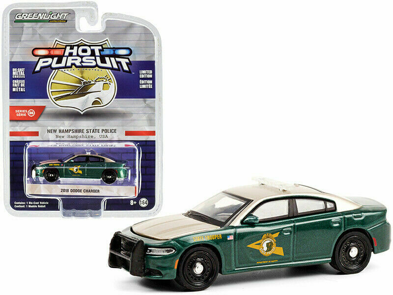 "2018 Dodge Charger New Hampshire State Police ""Hot Pursuit"" Series 36 Diecast 1:64 Model Car - Greenlight - 42930E"