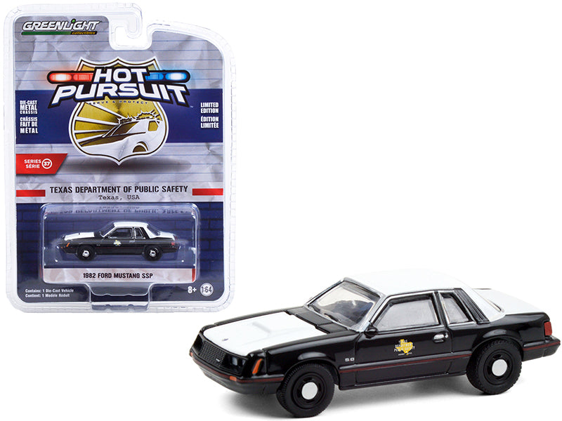 "1982 Ford Mustang SSP Black and White ""Texas Department of Public Safety"" ""Hot Pursuit"" Series 37 Diecast 1:64 Model Car - Greenlight 42950A"