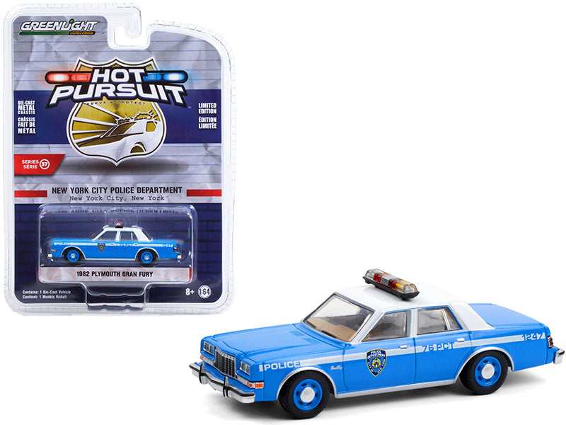 "1982 Plymouth Gran Fury Light Blue with White Top ""NYPD"" ""Hot Pursuit"" Series 37 Diecast 1:64 Model Car - Greenlight 42950B"