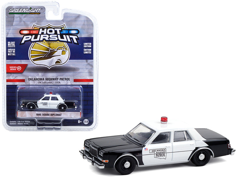 "1985 Dodge Diplomat Black and White ""Oklahoma Highway Patrol"" ""Hot Pursuit"" Series 37 Diecast 1:64 Model Car - Greenlight 42950C"