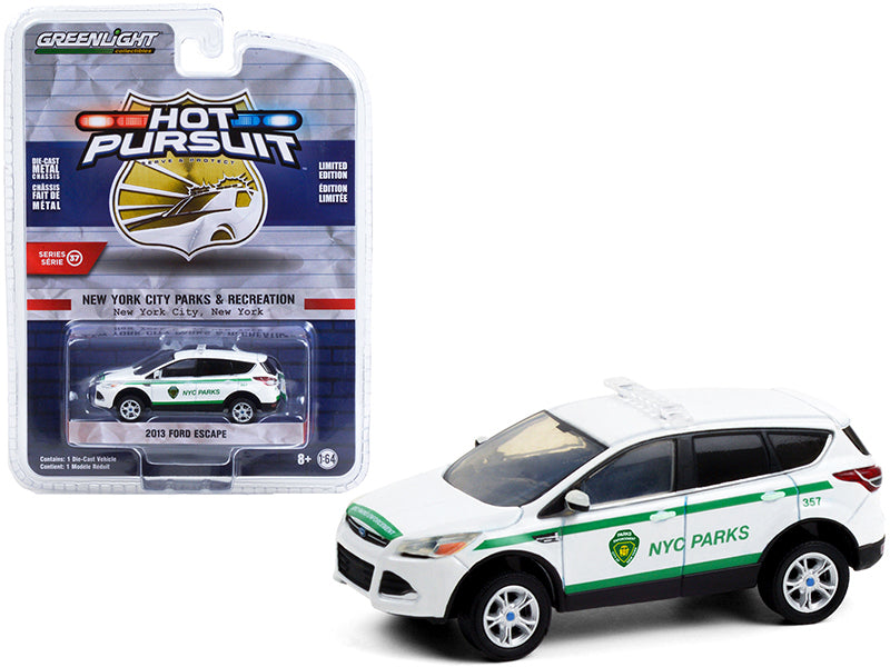 "2013 Ford Escape White with Green Stripes ""NYC Parks"" ""Hot Pursuit"" Series 37 Diecast 1:64 Model Car - Greenlight 42950D"
