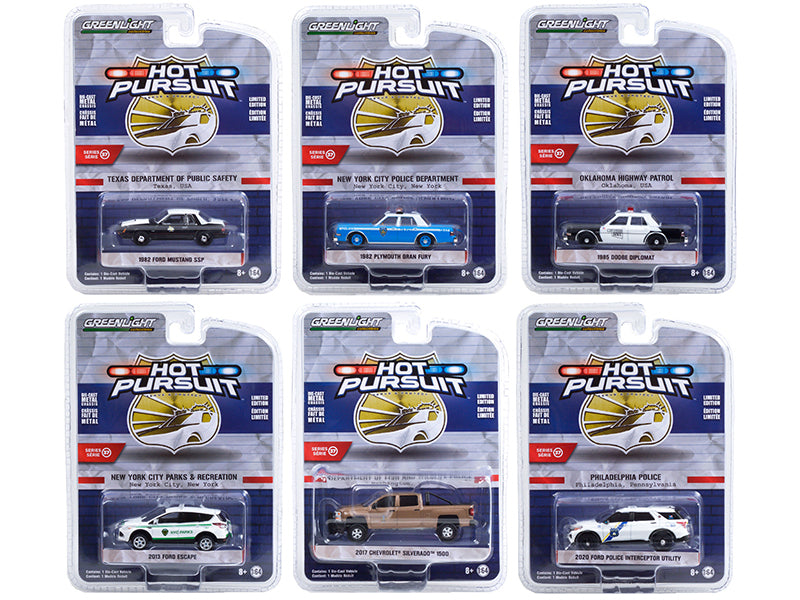 """Hot Pursuit"" Series 37 Set of 6 Police Cars Diecast 1:64 Model Car - Greenlight 42950"