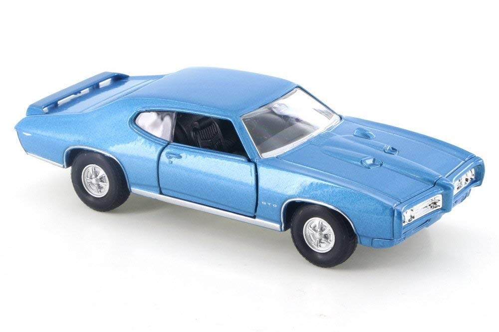 "1969 Pontiac GTO  Blue 4.5"" Diecast Model Pull Back - Welly - 43714DBL"