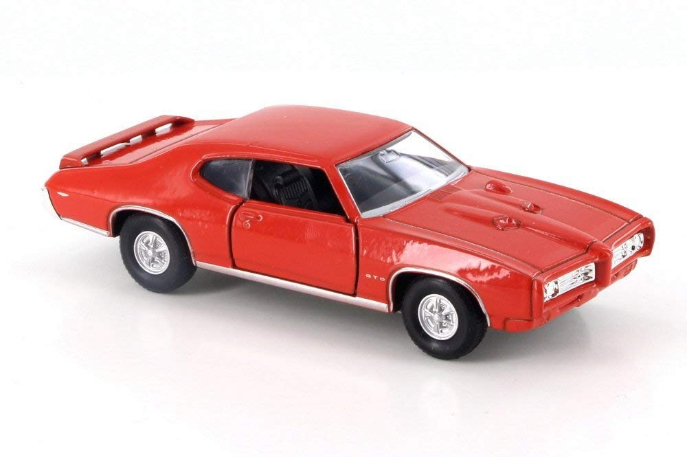 "1969 Pontiac GTO Orange 4.5"" Diecast Model Pull Back - Welly - 43714OR"