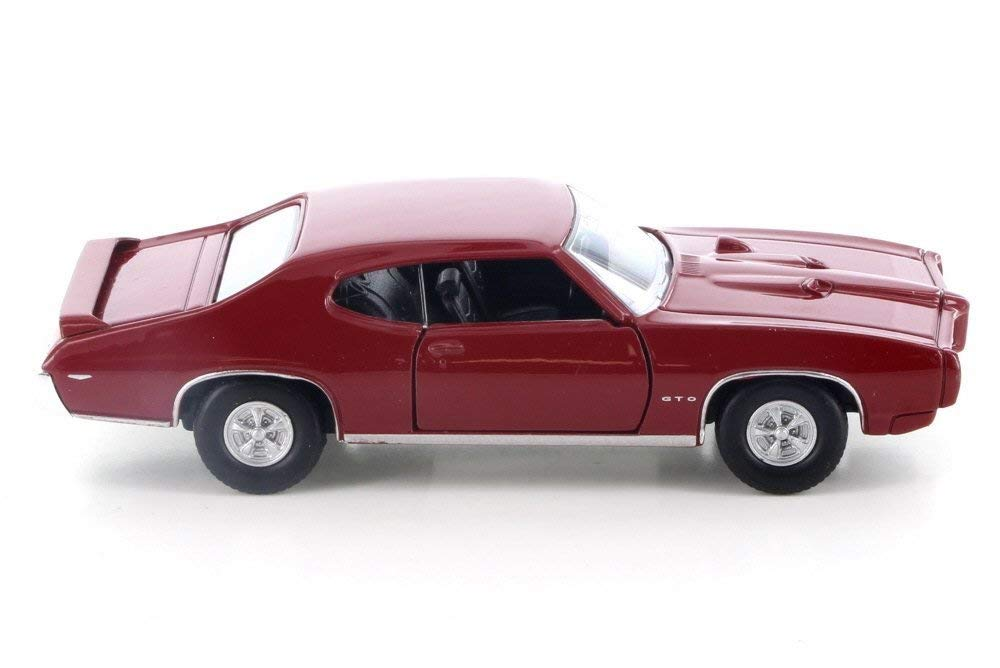 "1969 Pontiac GTO Red 4.5"" Diecast Model Pull Back - Welly - 43714RD"