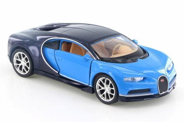 "Bugatti Chiron Blue 4.5"" Diecast Model Pullback - Welly - 43738"