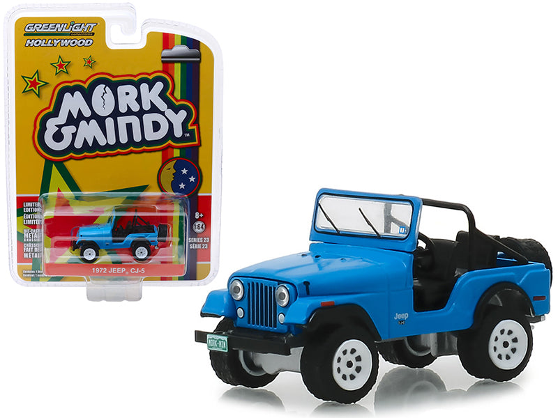 "1972 Jeep CJ-5 Blue ""Mork & Mindy"" (1978-1982) TV Series ""Hollywood Series"" Release 23 1/64 Diecast Model Car - Greenlight - 44830A"