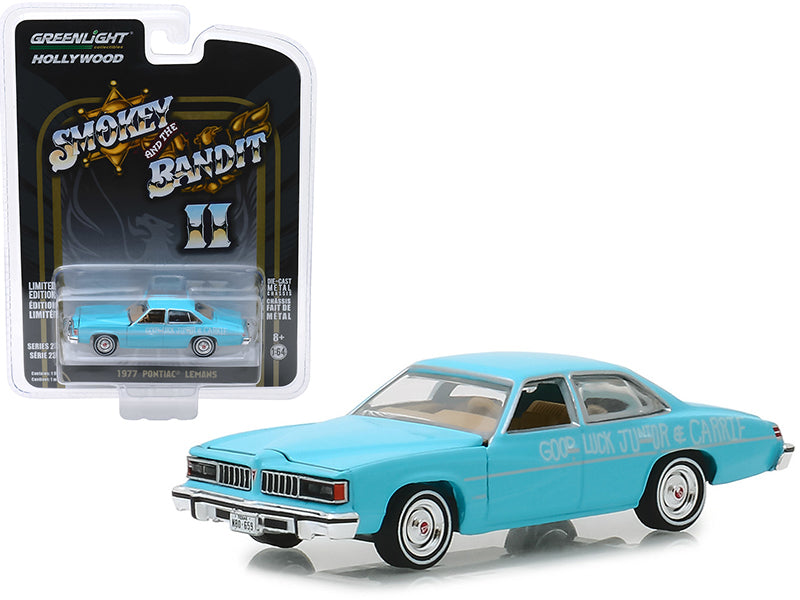 "1977 Pontiac LeMans ""Wedding Car"" Blue ""Smokey and the Bandit II"" (1980) Movie ""Hollywood Series"" Release 23 1/64 Diecast Model Car - Greenlight - 44830B"