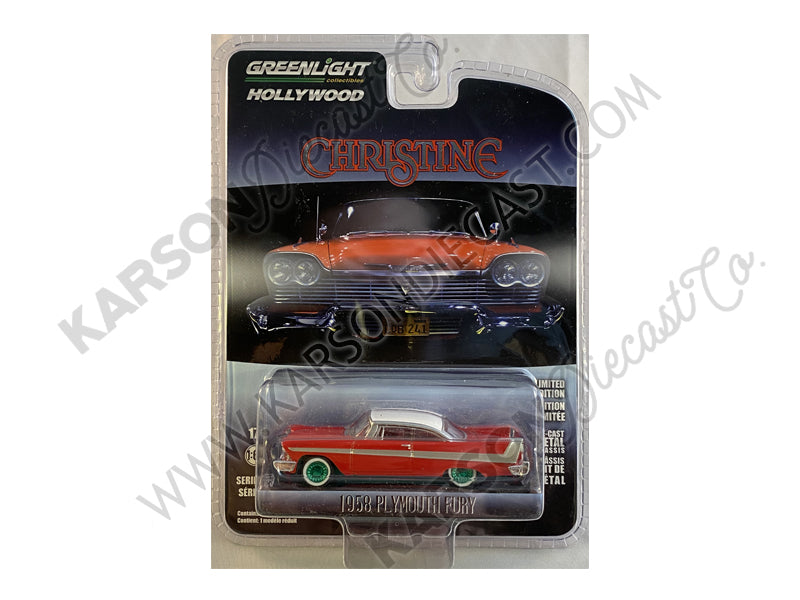 "CHASE 1958 Plymouth Fury Red w/ White Top ""Christine"" (1983) Movie ""Hollywood Series"" Release 23 1:64 Diecast Model Car - Greenlight - 44830C"