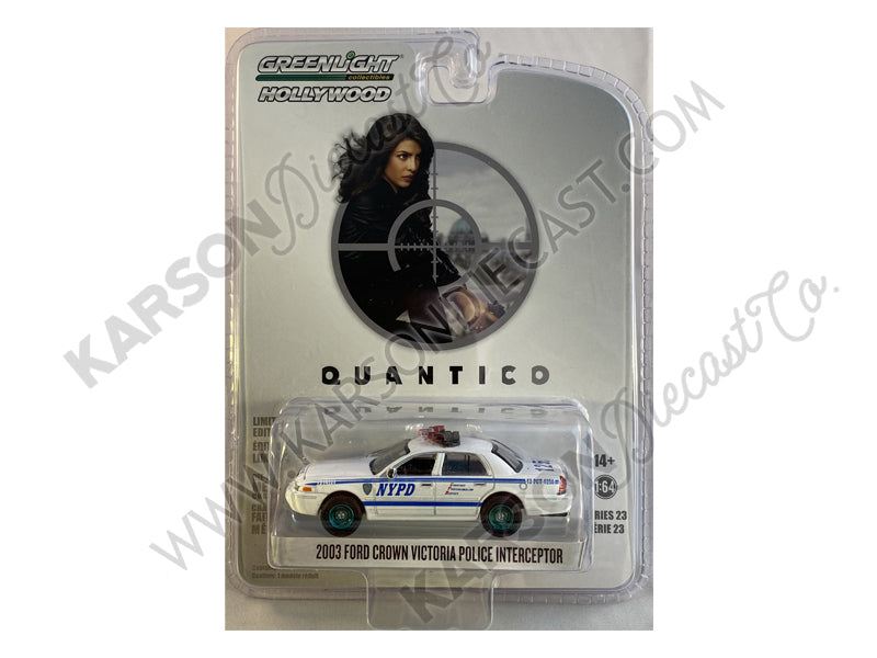 "CHASE 2003 Ford Crown Victoria Police Interceptor ""New York City Police Department"" (NYPD) ""Quantico"" (2015-2018) TV Series ""Hollywood Series"" Release 23 1/64 Diecast Model Car - Greenlight - 44830F"