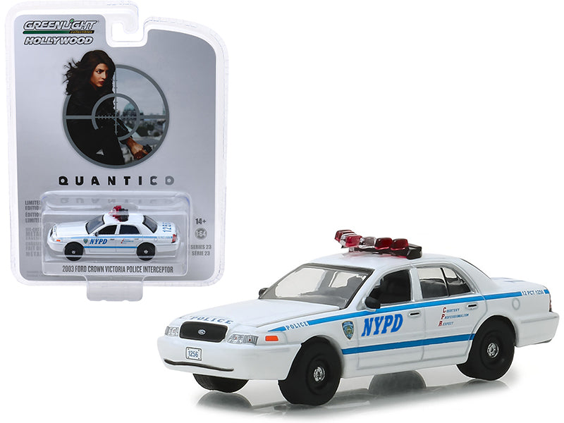 "2003 Ford Crown Victoria Police Interceptor ""New York City Police Department"" (NYPD) ""Quantico"" (2015-2018) TV Series ""Hollywood Series"" Release 23 1/64 Diecast Model Car - Greenlight - 44830F"