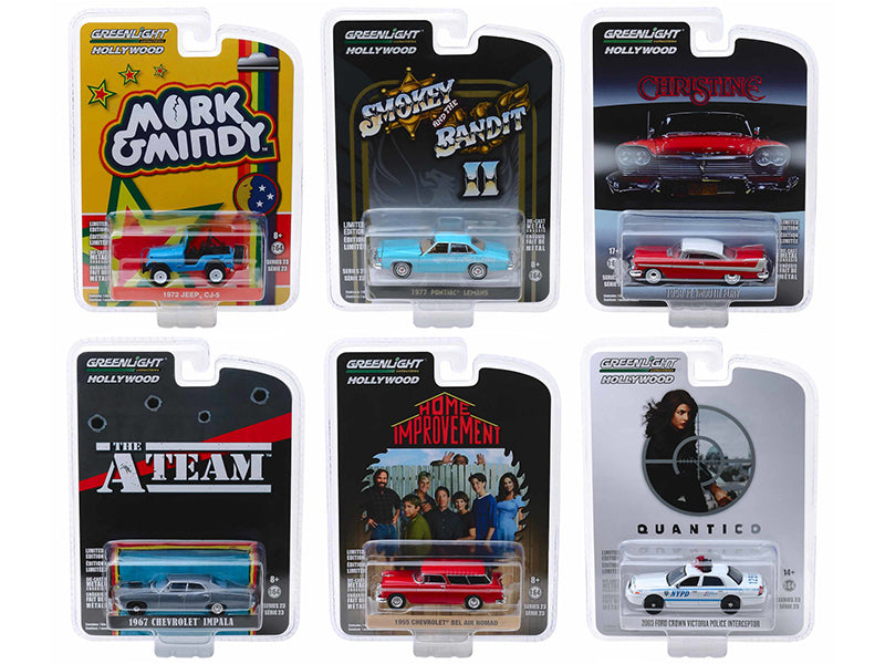 Hollywood Series Release 23, Set of 6 Cars 1:64 Diecast Models - Greenlight - 44830SET