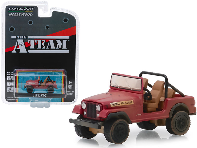 "Jeep CJ-7 Red ""Animal Preserve"" ""The A-Team"" (1983-1987) TV Series ""Hollywood Series"" Release 24 1:64 Diecast Model Car - Greenlight - 44840C"