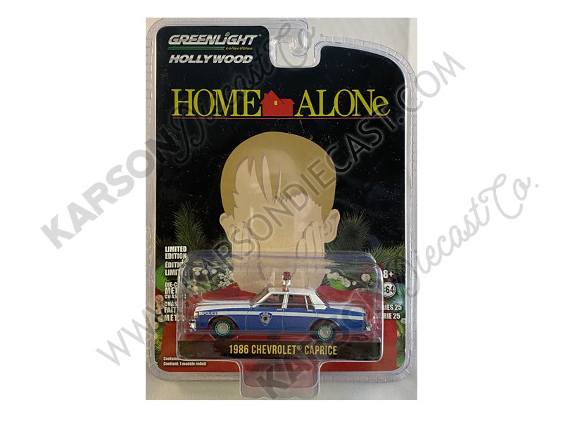 "CHASE 1986 Chevrolet Caprice Blue and White ""Wilmette, Illinois Police"" ""Home Alone"" (1990) Movie ""Hollywood Series"" Release 25 1/64 Diecast Model Car - Greenlight - 44850E"