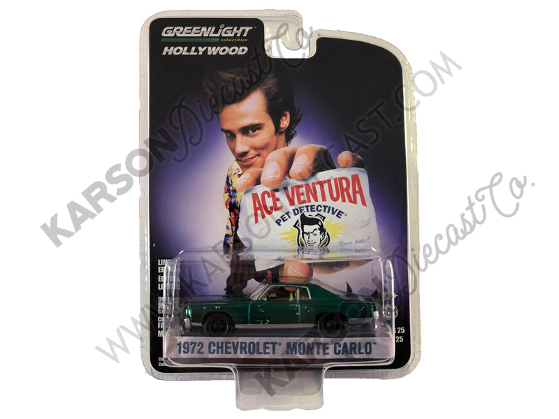 "1972 Chevrolet Monte Carlo Light Blue (A Beat Up) ""Ace Ventura: Pet Detective"" (1994) Movie ""Hollywood Series"" Release 25 1/64 Diecast Model Car - Greenlight - 44850F - CHASE GREEN MACHINE"
