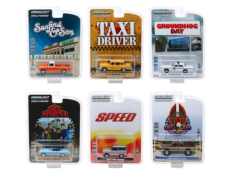 """Hollywood Series"" Release 26, Set of 6 pieces 1/64 Diecast Model Cars - Greenlight - 44860SET"
