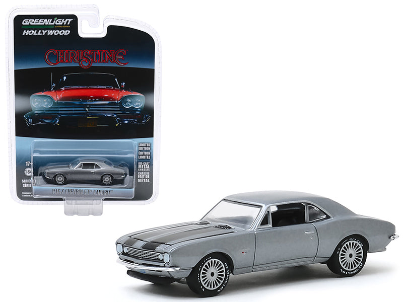 "1967 Chevrolet Camaro Gray Metallic with Black Stripes (Buddy Repperton's) ""Christine"" (1983) Movie ""Hollywood Series"" Release 27 Model 1:64 Diecast - Greenlight - 44870C"