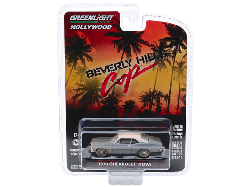 "1970 Chevrolet Nova Blue Metallic with White Top (Unrestored) ""Beverly Hills Cop"" (1984) Movie ""Hollywood Series"" Release 27 Model 1:64 Diecast - Greenlight - 44870D"