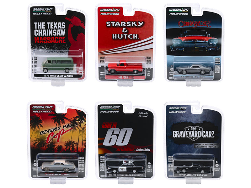 """Hollywood Series"" Release 27, Set of 6 Model 1:64 Diecast Cars - Greenlight - 44870SET"